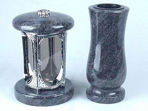 designgrab Grablampe aus verchromtem Aluminium und Grabvase Taille-medium in Granit Orion Blue/Vizac Blue