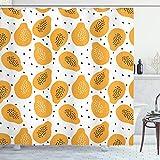 ABAKUHAUS Sommer-orange Duschvorhang, Papaya & Samen Kunst, Seife Bakterie Schimmel & Wasser Resistent inkl. 12 Haken & Farbfest, 175x180 cm, Pale Orange Schwarz