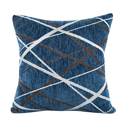Bokeley Pillow Case, Plush Square Striped Decorative Throw Pillow Case Bed Home Decor Cushion Cover (Blue)