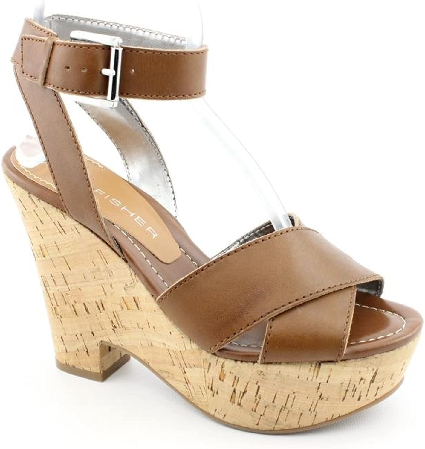 Marc Fisher Sabina Open Toe Platforms Sandals shoes Brown Womens New Display