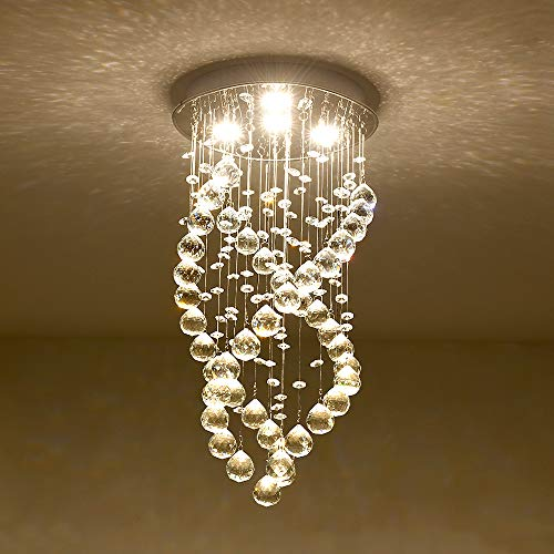 Modern K9 Crystal Raindrop Chandelier, Spiral Mini Chandelier 4 LED Ceiling Lighting Fixtures for Bedroom, Living Room, Bathroom, Hallway