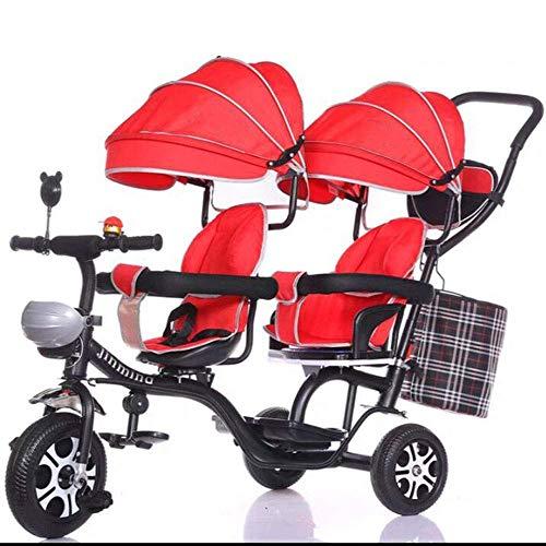 GST Triciclos Triciclo de Guantes, Carrito de Bicicletas gemelas para niños con gemelas para niños, Cochecito de bebé de Alto Contenido de Carbono para 1-7 años, Naranja (Color : Red)