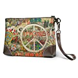 Carteras Women's Leather Wristlet Clutch Wallet Peace Sign Graffiti Purse Phone Handbags Card For Travel Party Wedding Shopping
