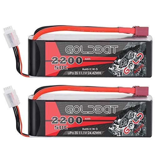 GOLDBAT 2200mAh 11.1V 3S 50C LiPo RC Battery with Deans Connector for RC Evader BX Car RC Truggy RC Truck RC Airplane Helicopter Drone (2 Packs)