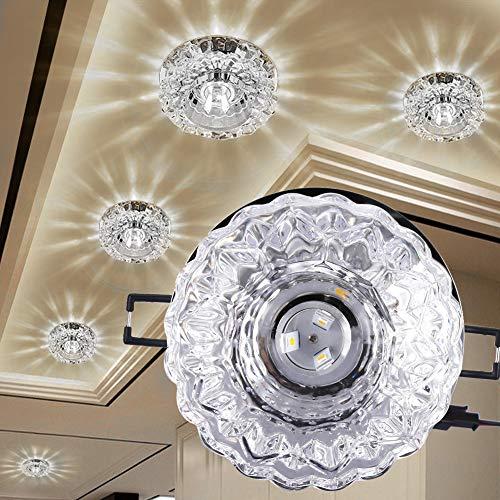 Fabater Downlight de Techo LED de Cristal Transparente, 3W LED Downlight de Techo Empotrado Lámpara de Techo LED Resistente al Calor,(Concealed 3W White Light)