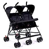 FAFY Twin Kinderwagen Leichte Falten Fahrrad Baby Doppel Kinderwagen Stoßdämpfer,Black
