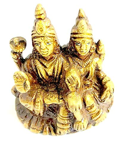 Robin Exports Brass Lord Shiva Parvati Murti Idol Statue for Home Décor Temple Gift Showpiece 6.5 Cm
