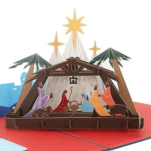 Biglietto di Natale 3D – Nascita di Gesù – Biglietto pop-up, religioso, biglietto di auguri