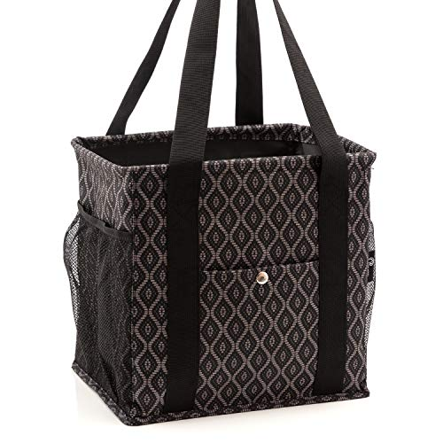 Pursetti Small Utility Tote Bag for Women with 4 Exterior Pockets - Perfect as Lunch Tote, Reusable Grocery Bags, Shopping Bags, Work Bag, Teacher Bag, and Nurse Bag (Black Trellis)