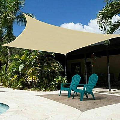 Sun Shade Sail Rectangle 6' x 6' UV Block Canopy for Patio Deck Yard Backyard Lawn Garden Outdoor Facility and Activities
