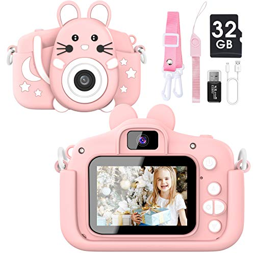 Kids Camera for Boys and Girls, 20.0 MP HD 1080P Digital Video Camera for Kids, Dual Camera 2.0 Inch IPS Screen Kids Camera with 32GB SD Card, Best Gifts Toys for Boys Girls Age 3-12 Years (Pink)