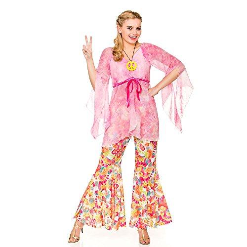 Ladies Pink 60's Groovy Hippie Fancy Dress Costume
