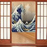 Japanese Noren Barco Ola Amarillo Azul Caqui Cortina de Tipo Largo para Puerta, decoración asiática, para el hogar, Sushi, Cocina, decoración de Cocina 90x150 cm