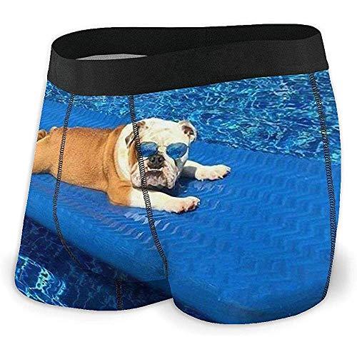 Bulldogs ingleses Calzoncillos Boxer para Hombre Pantalones Cortos de Ropa Interior Sexy para Hombres Poliéster Spandex Secado rápido Talla Baja L