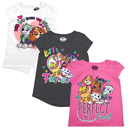 Nickelodeon Girls and Toddlers 3-Pack T-Shirts: JoJo Siwa and Paw Patrol, Pink Paw, 6X