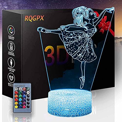 Ballet C LED 3D luz de noche, lámpara de ilusión con control remoto 16 colores cambiantes Navidad Halloween regalo de cumpleaños para niño niña