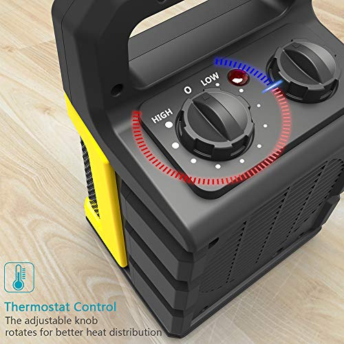 1500W Ceramic Space Heater with Adjustable Thermostat, Fast Heating for Small and Middle Rooms, Office Floor, Desk or Other Indoor Space, Powerful and Portable, ETL Approved