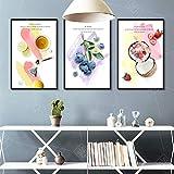 Geiqianjiumai Cocina Sala Lienzo Arte Fruta Vegetal café decoración Pintura nórdica decoración del hogar Helado Comida Cartel Pared Cuadro Pintura sin Marco 60x80 cm