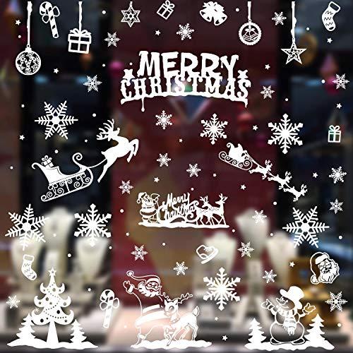 heekpek 6 Blatt Fensterdeko Schneeflocken Schneeflocken Fensterbilder Abnehmbare Fensterdeko Statisch Haftende PVC Aufkleber für Weihnachts-Fenster Dekoration Türen Schaufenster Vitrinen Glasfronten