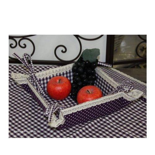 fb47 a Clayre & Eef Corbeille à pain Violet/carreaux Violet/Blanc 35 x 35 cm
