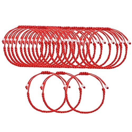 Lucky Ajustable Red Rojo Pulsera Set Pulsera Roja Kabbalah Protección Lucky Pulseras a Juego para Amante de Pareja Amigos Familias Mujeres Hombres