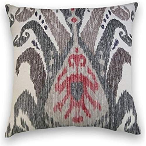 Nostalgiaz Grijs Rood Ikat Decoratief Kussen Cover, 18 x 18 inch