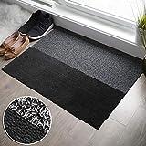 2-in-1 Indoor Outdoor Welcome Mat - Half Absorbent Entryway Rug, Half Shoe Scraper Doormat | Front Door Mats Outside or Inside Use, Anti Slip