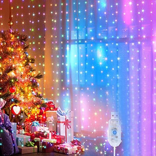 [2 Stück] LED Lichterkette, 2x10m 200leds 8 Modi Beleuchtung Farbe Lichterkette Lichtervorhang für innen Lichtervorhang für Weihnachten,Party,Hochzeit Deko,balkon möbel,Innenbeleuchtung(Bunt)