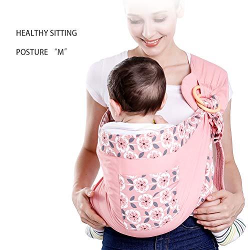NINI Neugeborenen-Tragetuch mit doppeltem Verwendungszweck für Säuglingspflegebedeckung Netzgewebe-Still-Tragetücher Bis zu 0-36 m (130 lbs) Babytrage,Pink1