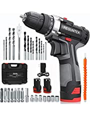 Cordless Drill Driver Set with 2 Batteries, 12.8V Power Drill 28Nm 25+1 Clutch, 3/8 Keyless Chuck, Variable Speed, Built-in Led with 31Pcs Accessories