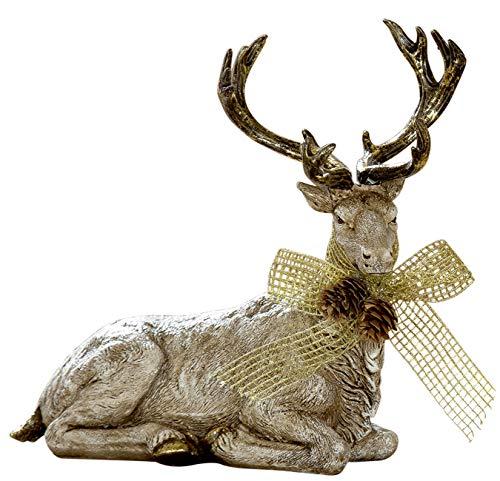 dekojohnson kerstdecoratie decoratieve figuurrendier natuurlijk liggend hert REH Bambi eland goud beige 22 x 20 cm groot binnen en buiten