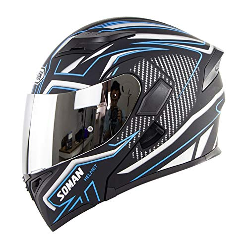 ZiFei Silver Lens Flip Up Motorcycle Helmet, Full Face Anti-Fog Dual Visor DOT Motorbike Helmets, Scooter Crash Helmet for Adult Men/Women,Blue,XL
