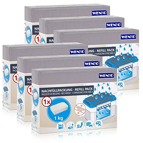 6x Wenko Nachfüllpackung Feuchtigkeitskiller Raum-Entfeuchter, 1kg Granulat