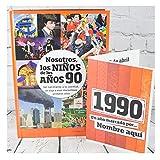 Calledelregalo Libro de tu año de Nacimiento, Libro de la década de los 90 con Tarjeta Personalizada - Regalo para cumpleaños - Otras Edades Disponibles