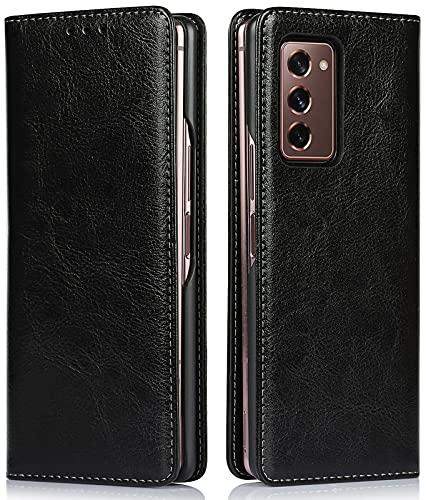 Miimall Samsung Galaxy Z Fold 2 5G Hülle, Retro-Textur Echtes Leder Klapphülle mit Kartensteckplätze Magnetschnalle Schutzhülle für Samsung Galaxy Z Fold 2 5G 2020 - Schwarz