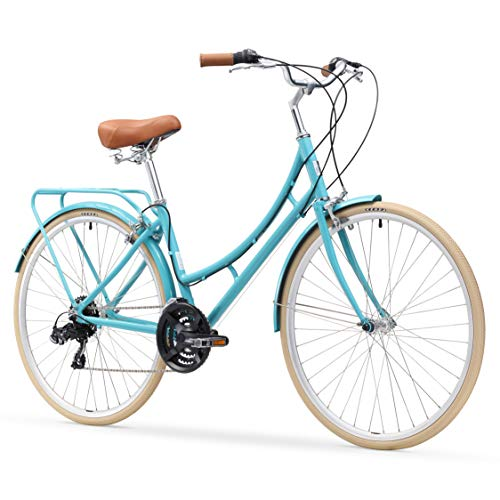 sixthreezero Ride In The Park Women's 21-Speed Touring City Bike, Blue, 700x32c Wheels, Teal, 17'/One Size