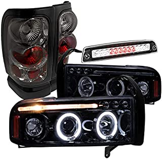 Spec-D Tuning LT2LHP-RAM94GRBC-TM Headlight Tail Light (Glossy Black Halo Smoke LED 3rd Brake Lamp)