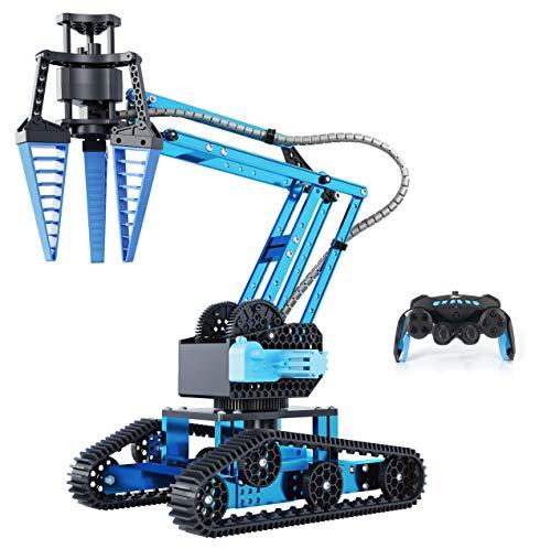 Top Race Remote Control RC Robot Arm Alloy Metal Mechanical Robotic Arm Building Kit DIY Take Apart Stem Excavator Robot