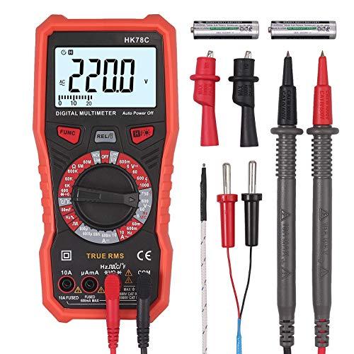 Digital Multimeter TRMS 6000 Counts CAMWAY AC/DC Voltmeter Ammeter Ohmmeter Tester with Backlit NCV Capacitance Temperature Live V.F.C with Screwdriver,Alligator Clip