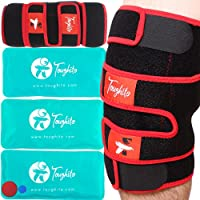 Toughito Hot & Cold Pack Knee Brace- 4 in 1 Knee Pain Relief Brace for Joint Pain, Bursitis Pain Relief, Knee Injury, Arthritis, Meniscus Tear, ACL, Sprains & Swelling - Plus Ice Pack Sleeve & Strap by TOUGHITO