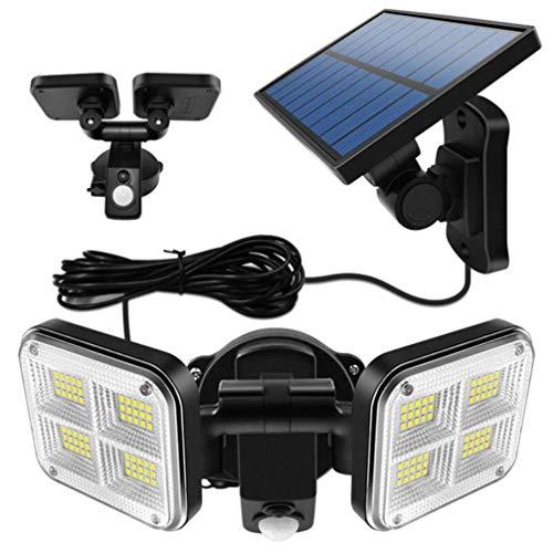 OSALADI Luces Solares Al Aire Libre Led Sensor de Movimiento Solar Luz 2 Cabezales Luz de Inundación Led de Seguridad Lámpara de Iluminación de Jardín Energía Solar Lámpara de Patio para