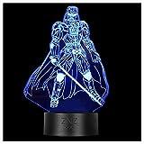 Lampada da notte a LED 3D - ZNZ 16 colori Lampada da tavolo a LED dimmerabile con telecomando per bambini, luci 3D Illusioni ottiche Lampada da tavolo per arredamento (4-Darth Vader)