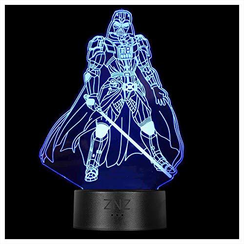 3D Lampe, ZNZ LED Illusion Led Nachtlicht, 16 Farbwechsel 3 Modell mit Remote & Smart Touch Lampe Weihnachts Geschenke für Kinder Männer Frauen (4-Darth Vader)