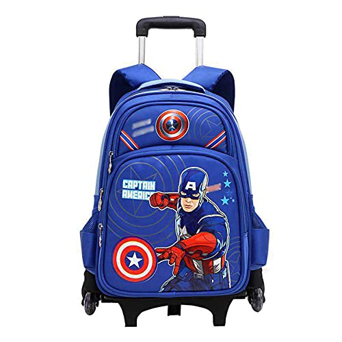 MYYLY Niño Niña Trolley Mochilas Capitán América Regalo Bolsas De Almuerzo para Niños Picnic Al Aire Libre Viaje Casual Satchel Moda Mochila Escolar Impermeable,Blue-6 Wheel