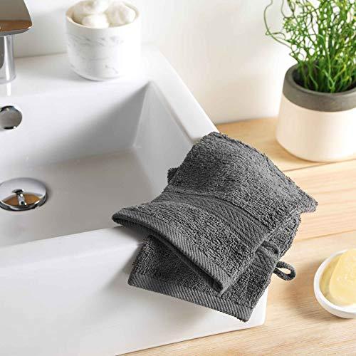DOUCEUR D'INTERIEUR 2 gants de toilette 15 x 21 cm eponge unie colors anthracite