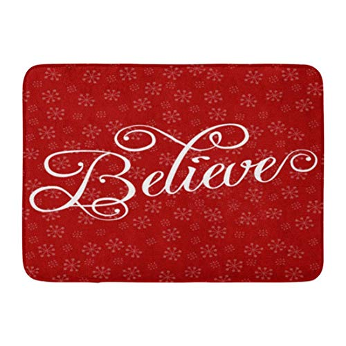 SPXUBZ Believe Christmas Holiday Snowflake Red Non Slip Entrance Rug Outdoor/Indoor Durable and Waterproof Machine Washable Door mat Size:18x30 inch