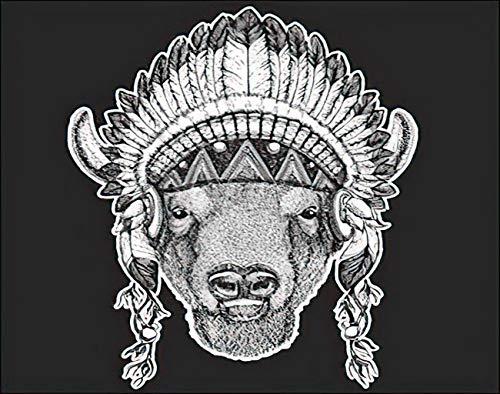 YJIANG Boho Paint by Numbers, Bfalo Bisonte Buey Bull Animal con tocado indio indgena plumas, lienzo acrlico al leo por nmeros para adultos nios decoracin de pared del hogar, 50 x 50 cm