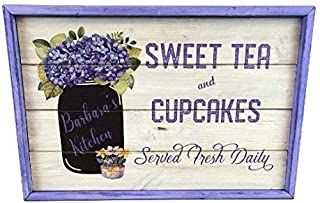 Vontuxe Sweet Tea and Cupcakes Personalized Mason Jar Distressed White Wood Sign Plaque - 6x12 inch