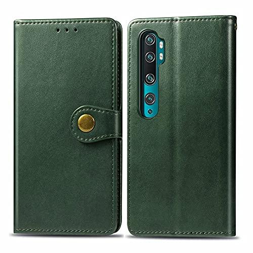 """Grandcaser Capa para Mi Note 10 ultrafina, com botão magnético, compartimento para cartão, capa protetora para Xiaomi Mi Note 10/Note 10 Pro/CC9 Pro 6,5"""" - Verde"""
