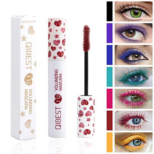 Waterproof Color Mascara, COOSA 7 Color Variety Pack Mascara Eyeliner Charming Longlasting Mascara for Eyelash Eye Makeup-7PCS